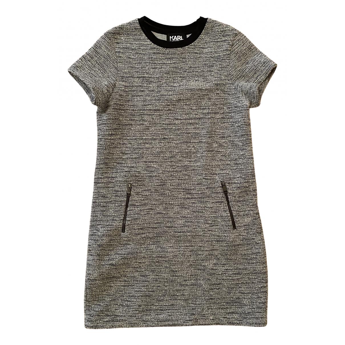 Karl Lagerfeld - Robe   pour femme en coton - elasthane - gris
