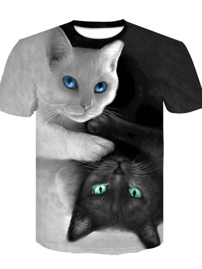 Ericdress Round Neck Animal Print Loose Short Sleeve T-shirt
