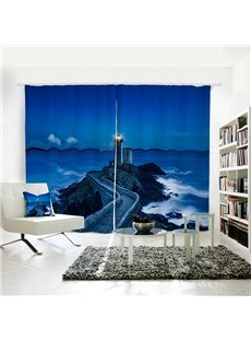 Night Sky and Lighthouse by the Sea Pattern 3D Polyester Curtain