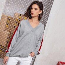 Jersey con costura lateral en contraste de hombros caidos