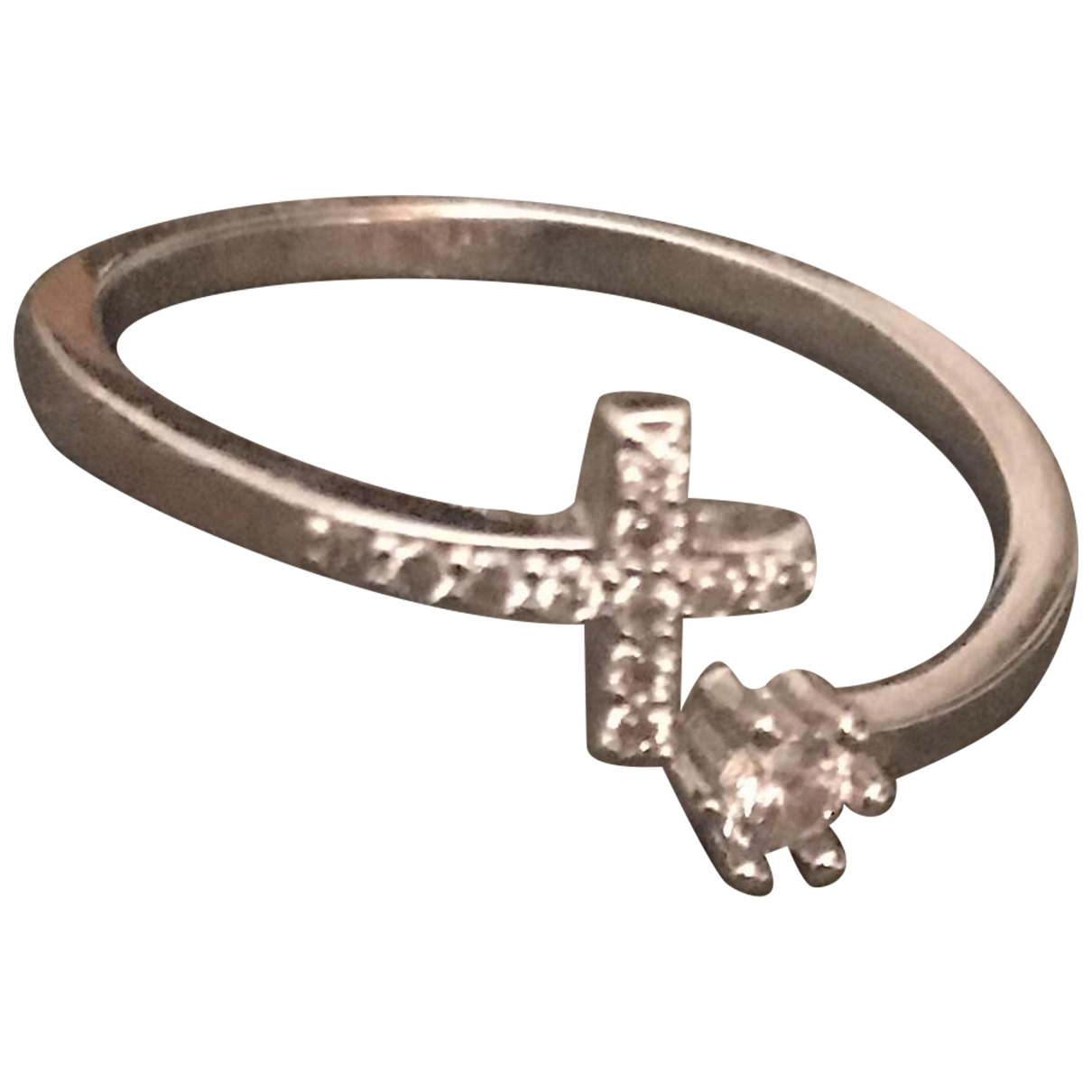 Non Signe / Unsigned Croix Ring in  Silber Stahl
