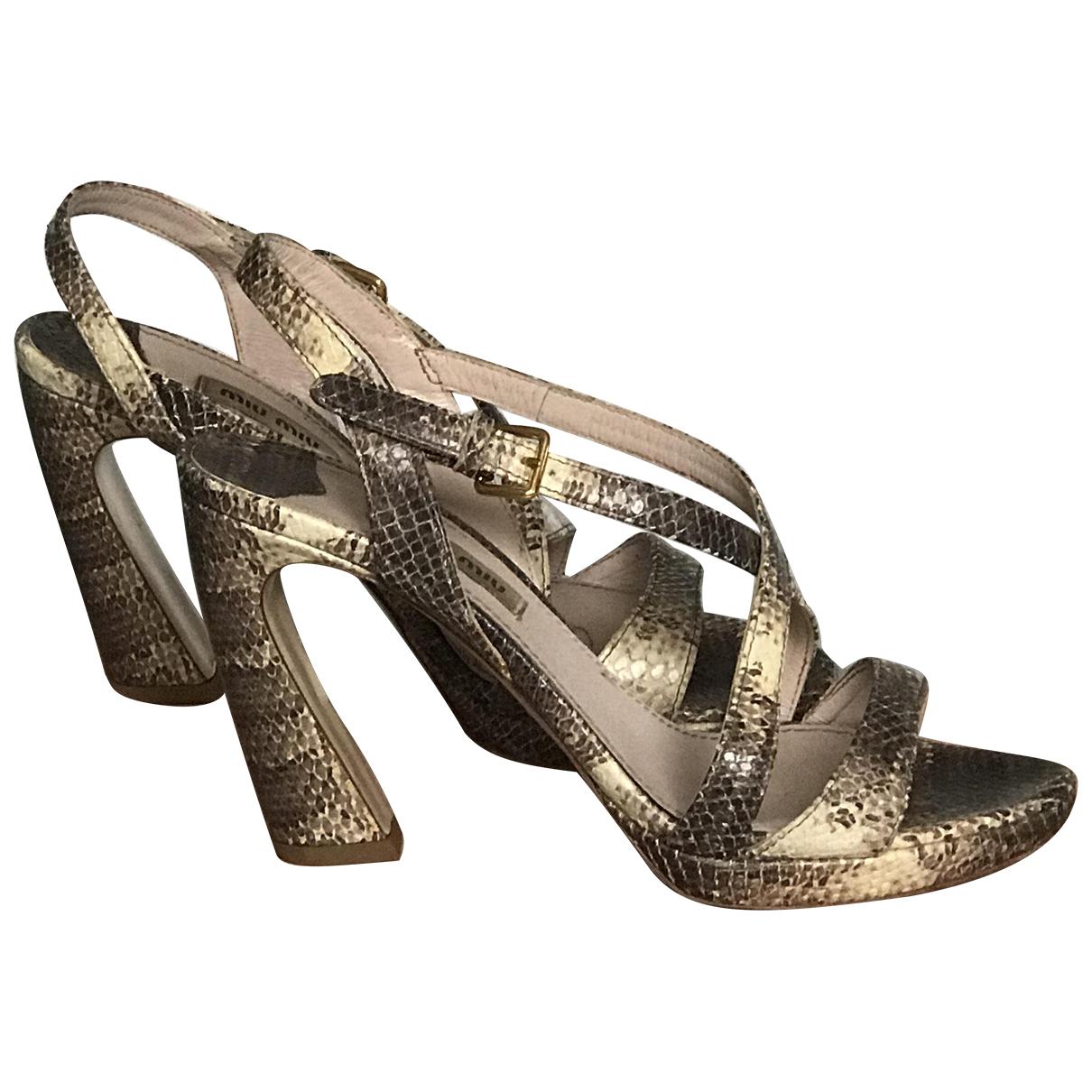 Miu Miu \N Gold Leather Sandals for Women 37 IT