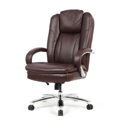 Big and Tall Bonded Leather High-Back Chair, Capacity Support 400 lb, Brown - Moustache@
