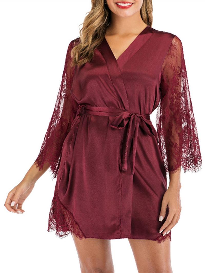 Ericdress Patchwork Single Plain Three-Quarter Sleeve Loose Night-Robes