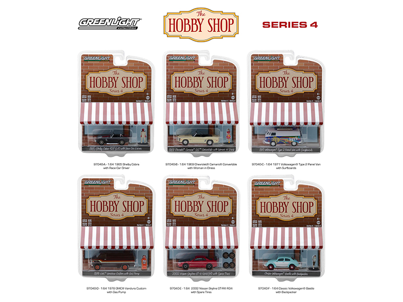 The Hobby Shop Series 4 Set of 6 Cars 1/64 Diecast Models by Greenlight