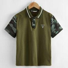 Polo Shirt mit Streifen am Kragen und Camo Muster am Ärmeln