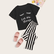 Maedchen Pajama Set mit Buchstaben Muster und Streifen