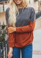 Color Block O-Neck Long Sleeve Pullover Sweatshirt - Gray