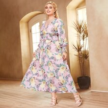 Plus Allover Floral Shirred Waist Dress
