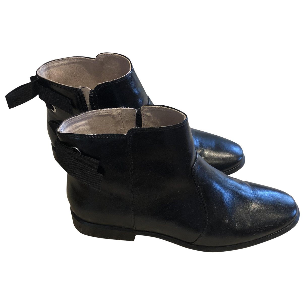 Zara \N Black Leather Boots for Women 37 EU