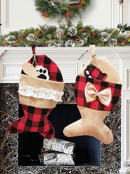Milanoo Christmas Pet Socks Christmas Decorations Christmas Socks Gift Bag