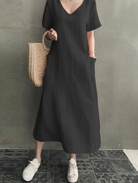 Yoins Pockets V-neck Short Sleeves Linen Dress