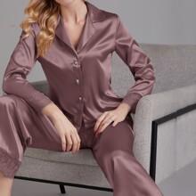 Satin Schlafanzug Set mit Kontrast Wimpern Spitze und Reverskragen