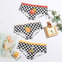 3 Stuecke Hoschen Set mit Obst & Karo Muster