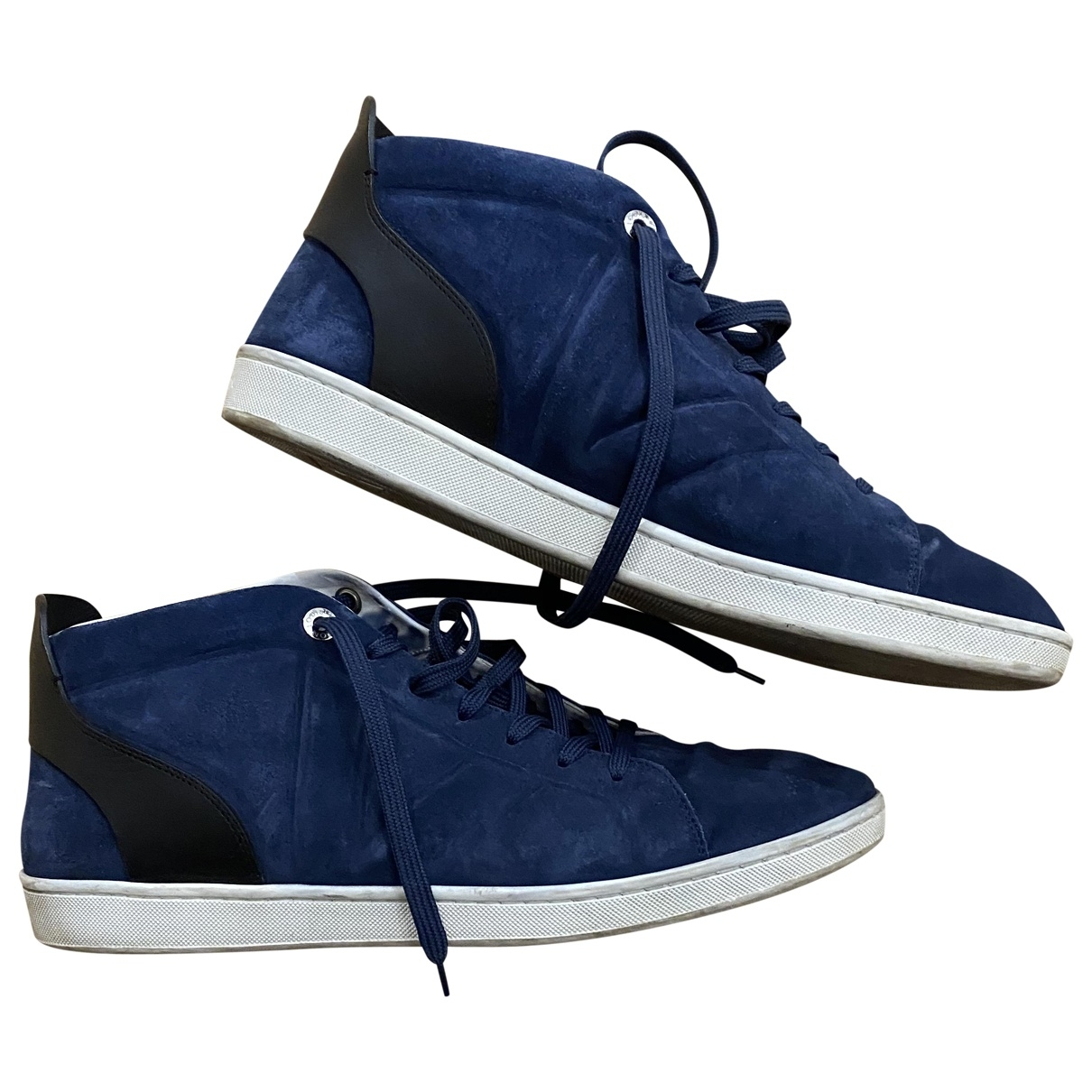 Louis Vuitton Fuselage Navy Suede Trainers for Men 10 US