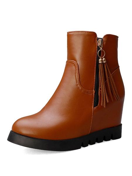 Milanoo Women Ankle Boots Wedge Heel Round Toe 3.1 Booties
