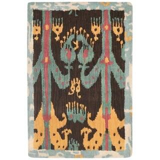 Safavieh Handmade Ikat Odalis Modern Wool Rug (2' x 3' - Charcoal/Blue)