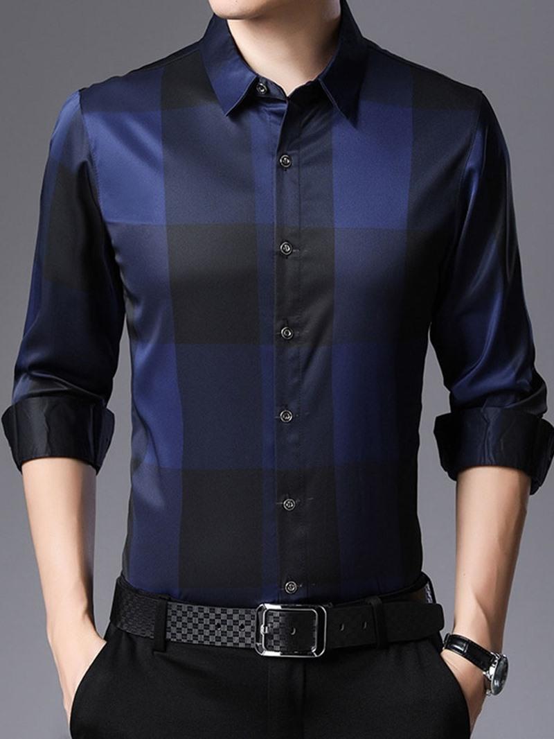 Ericdress Plaid Casual Print Mens Slim Shirt