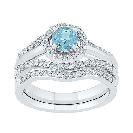 Modern Bride Gemstone Genuine Aquamarine & 1/2 CT. T.W Diamond Sterling Silver Bridal Set, 8 , No Color Family