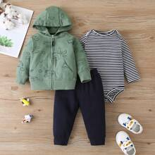 Baby Boy 3pcs Striped Bodysuit & Cartoon Graphic Zip-up Hoodie & Sweatpants