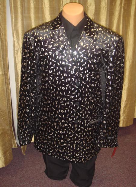 Mens Velvet Blazer/ Jacket in Black/Silver