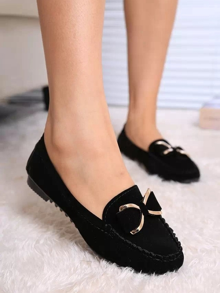 Yoins Sheer Suede Bowknot Loafers