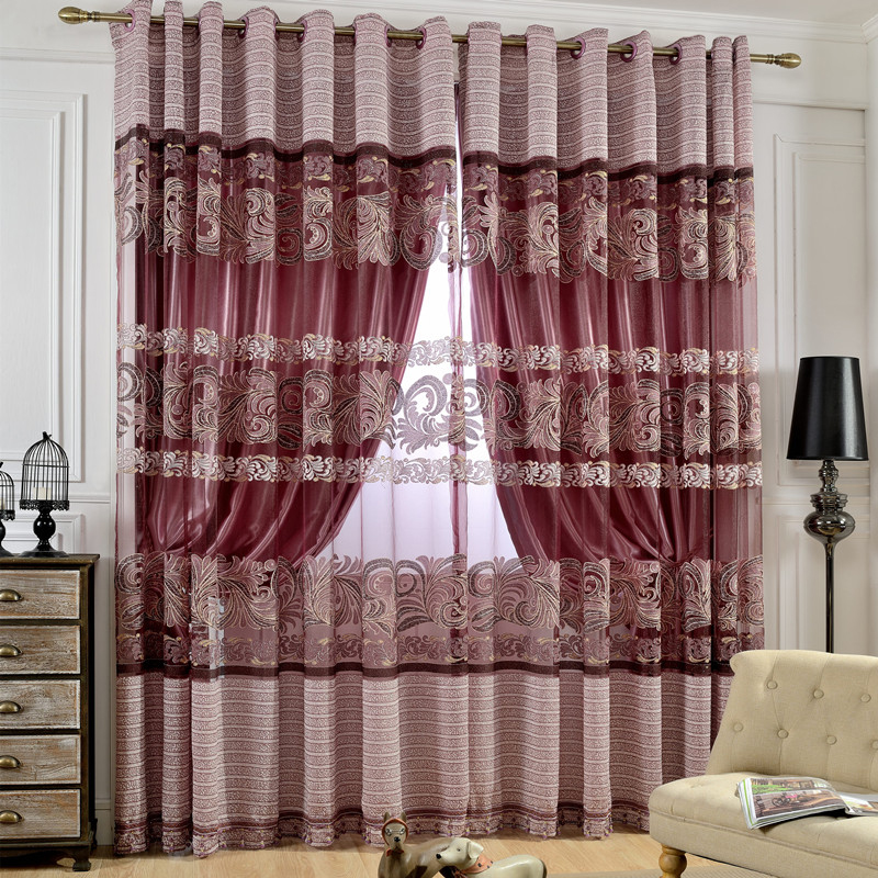Polyester Material European Style Jacquard Technics Floral Pattern Curtain Sets
