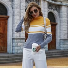Stand Collar Colorblock Sweater