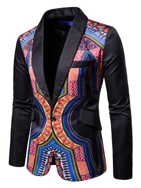 Milanoo Blazer For Men Ethnic Print Shawl Lapel One Button Black Suit Jacket