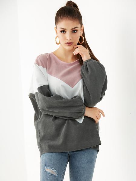 YOINS Pink Color Block Round Neck Corduroy Sweatshirt