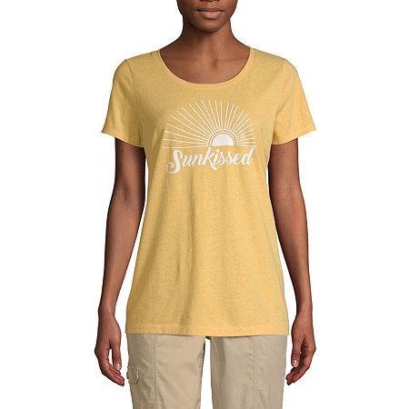 St. John's Bay-Womens Crew Neck Short Sleeve T-Shirt, Large , Yellow