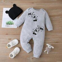 Mono con estampado de panda con sombrero