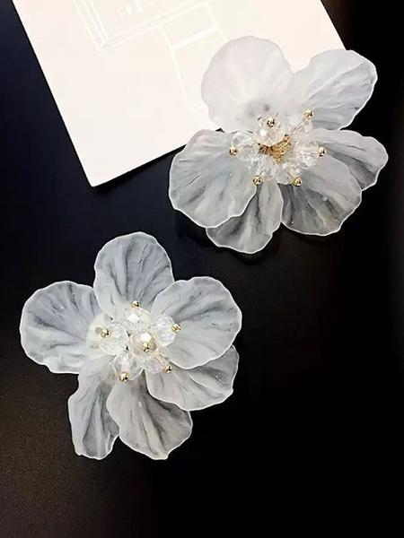 Milanoo Women Stud Earrings White Flower Alloy Earrings