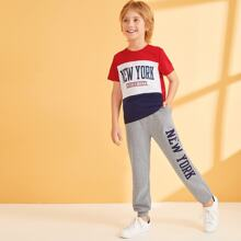 Boys Cut-and-sew Tee and Slant Pocket Sweatpants Set