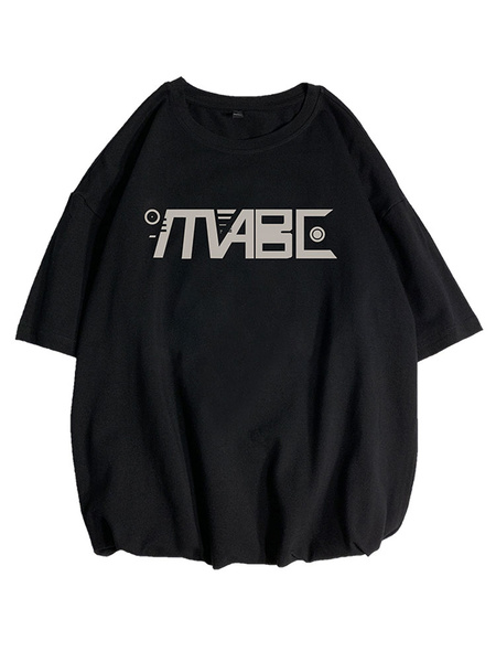 Milanoo T-shirts Loose-fitting Round Neck T-shirt With Short Sleeves And A Slogan Front Print Mens Shirt