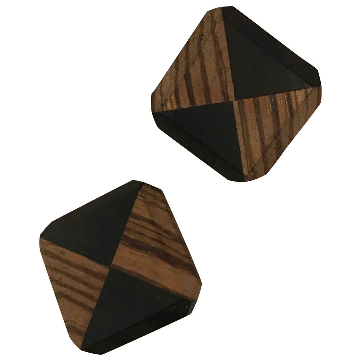 Yves Saint Laurent \N OhrRing in  Braun Holz