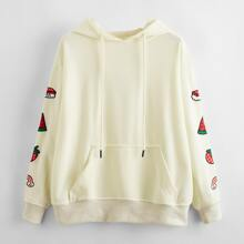 Cartoon And Fruit Embroidery Hoodie