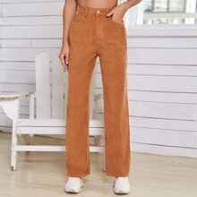 High Waist Cord Straight Leg Pants