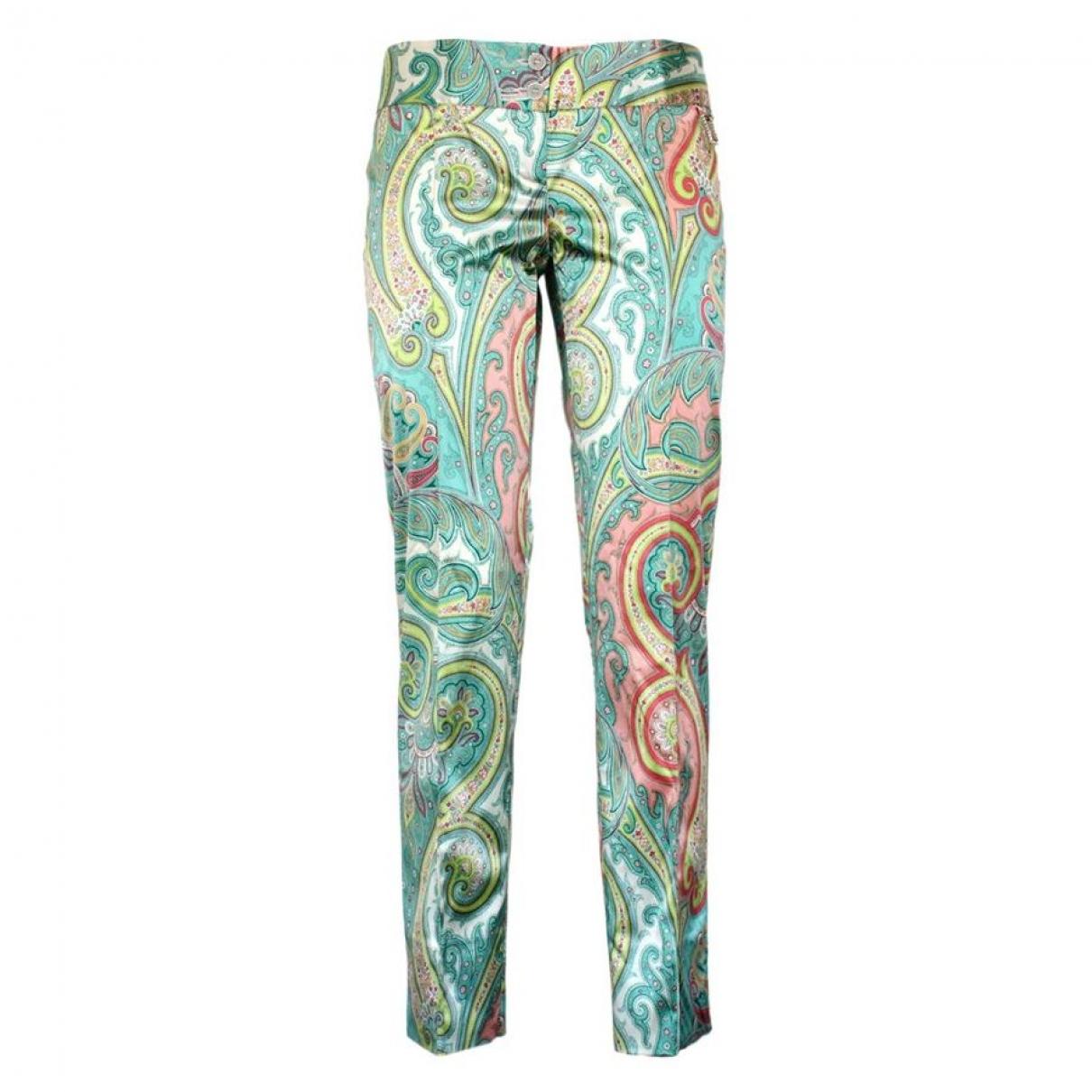 Dolce & Gabbana \N Green Silk Trousers for Women 38 IT