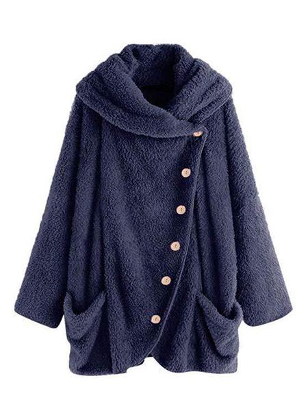 Milanoo Abrigo de invierno para mujer Botones de manga larga azul marino oscuro Sudadera con capucha de terciopelo coreano