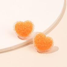 Crystal Heart Design Stud Earrings