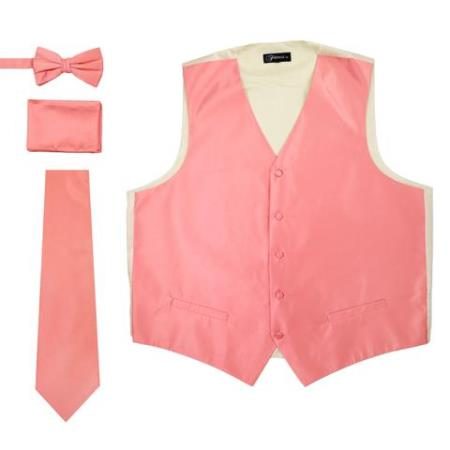 Mens 4PC Big and Tall Vest & Tie & Bow Tie and Hankie Soild Coral