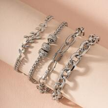4 Stuecke Armband mit Blatt Design