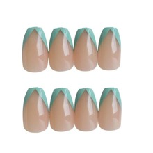 24pcs Contrast Trim Fake Nail