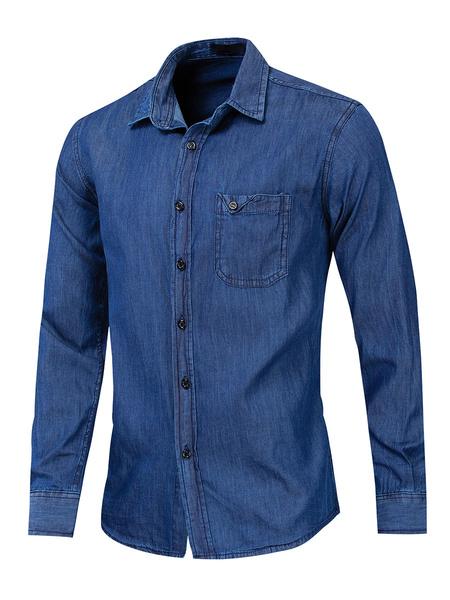 Milanoo Camisa casual para hombre Cuello descubierto Camisas azules de gran tamaño casuales