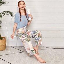 Gerippter Schlafanzug Set mit Schmetterling & Obst Muster und Schleife