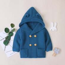 Toddler Boys Dual Pocket Double-breasted 3D Ear Design Hooded Sweater Coat