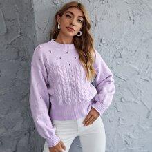 Strick Pullover mit sehr tief angesetzter Schulterpartie