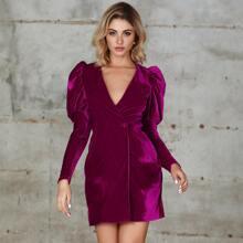 Double Crazy Single Button Gigot Sleeve Velvet Dress