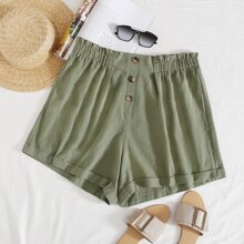 Plus Frill Trim Buttoned Front Shorts